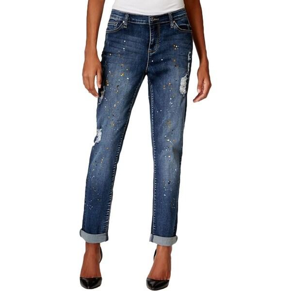 Earl Jean Womens Boyfriend Jeans Denim Splatter Print