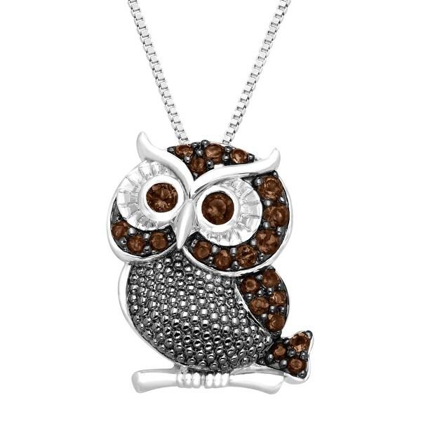 1/2 ct Natural Smokey Quartz Owl Pendant in Sterling Silver