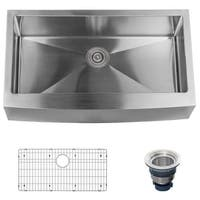 "Miseno MSS3620F Farmhouse 36"" Single Basin Stainless Steel Kitchen Sink with Apron Front - Drain Assembly and Fitted Basin Rack"