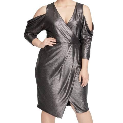 Rachel Rachel Roy Womens Dress Silver 2X Plus Cold Shoulder Surplice