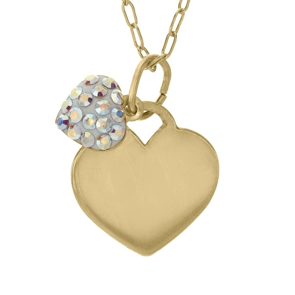 Crystaluxe Girl's Heart Pendant with Swarovski elements Crystals in 14K Gold-Plated Sterling Silver