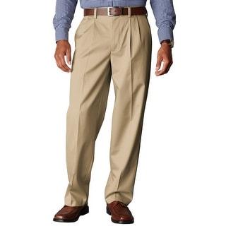 Dockers Signature Khaki Relaxed Pleated Chinos Pants Dark Khaki 33W x 30L - 33