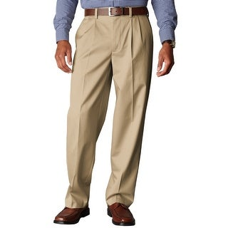 Dockers Signature Khaki Relaxed Pleated Front Chino Pants Dark Beige 34 x 32