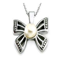 White Pearl in Butterfly Setting Stainless Steel Pendant - 18 inches