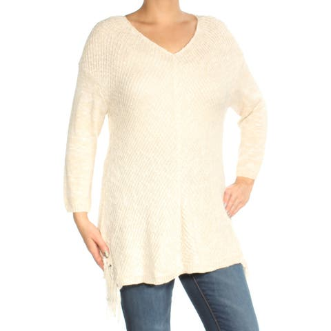 AMERICAN RAG Womens Ivory Long Sleeve V Neck Sweater Size: L