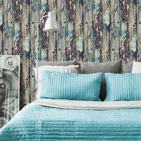 Aqua and Purple Rustic Wood Texture Peel and Stick Removable Wallpaper 3883