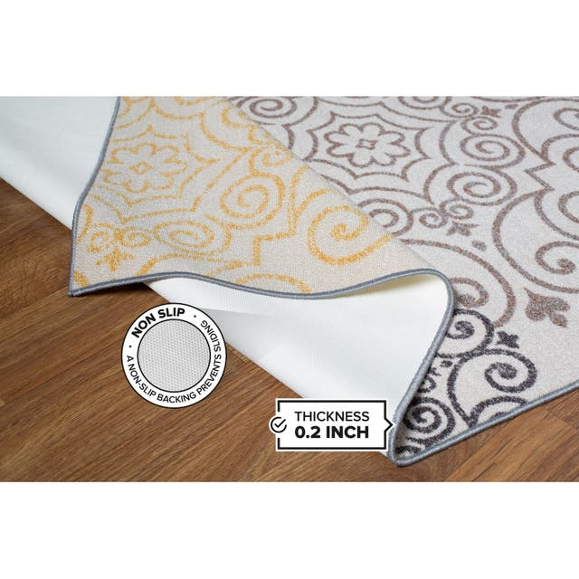 Modern Floral Swirl Design Non-Slip Area Rug