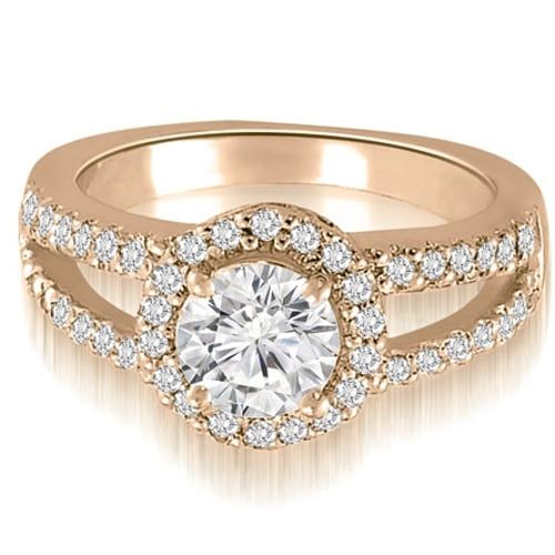 0.92 cttw. 14K Rose Gold Halo Split-Shank Round Cut Diamond Engagement Ring