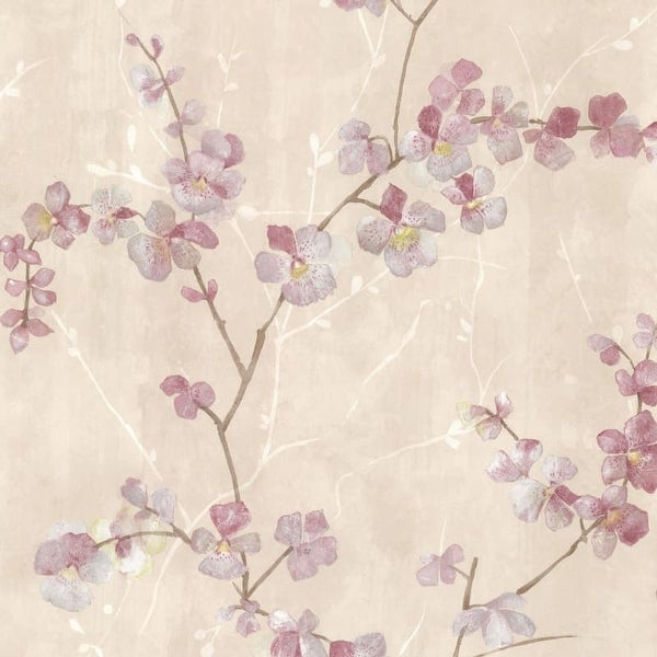 Brewster 347-20100 Chapman Pink Cherry Blossom Trail Wallpaper - N/A