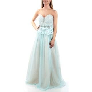 Womens Beige Aqua Sleeveless Full Length Empire Waist Prom Dress Size: 3
