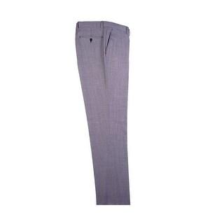 Light Gray Birdseye Flat Front Dress Pants Pure Wool by Tiglio Luxe