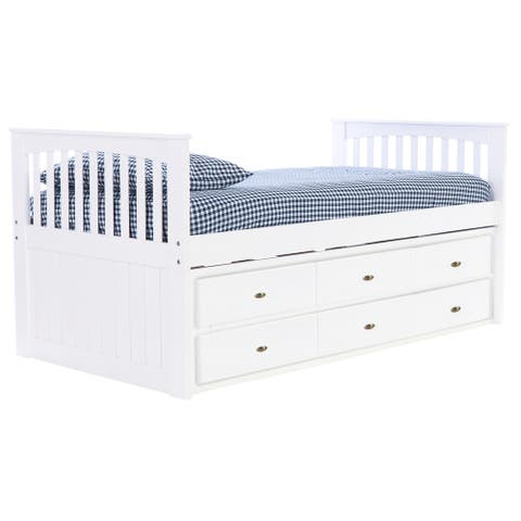 OS Home and Office Furniture Model 0235-K6-R-KD Twin Rake Bed with 6 Drawers