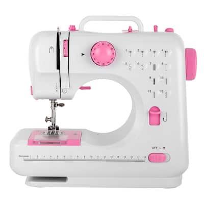 Household Electric Small Desktop Multifunctional Seaming Machine, White&Pink