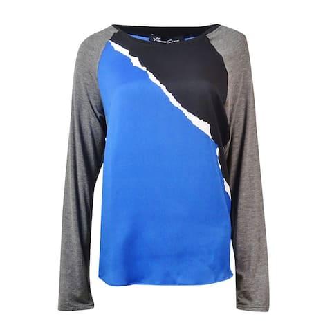 Kenneth Cole New York Women's Color Blocked Davine Top - Delft Multi - M