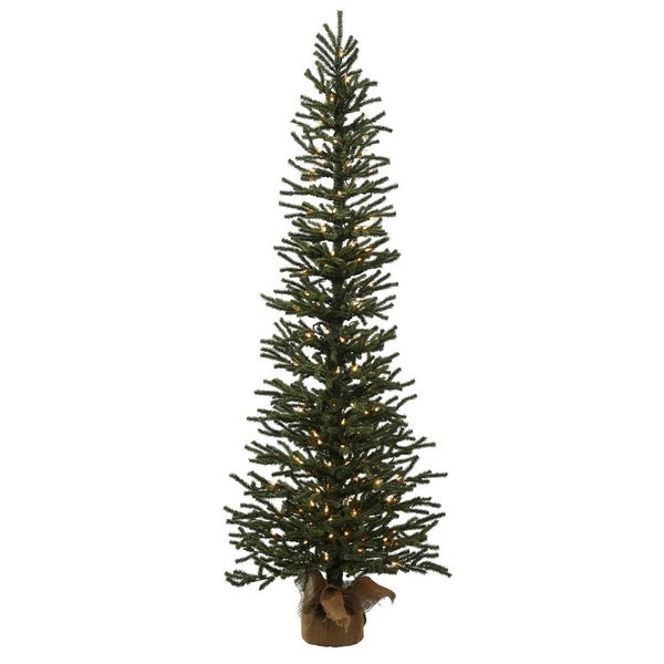 "3' x 11"" Pre-Lit Mini Pine Artificial Christmas Tree in Burlap Base - Clear Dura Lights - green"