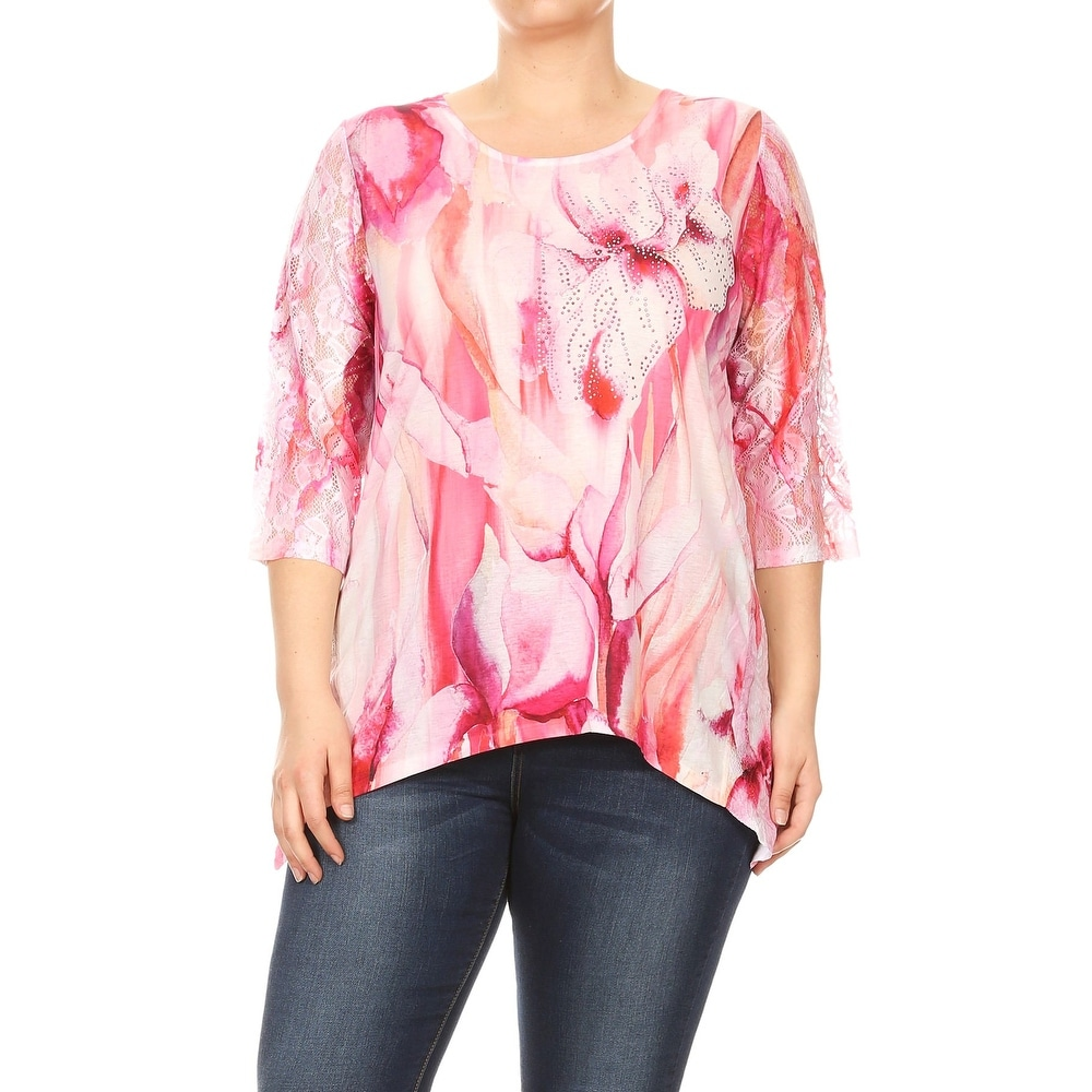 BNY Corner Womens Plus Size Top Tunic Blouse Tee Shirts Pink 17016-2