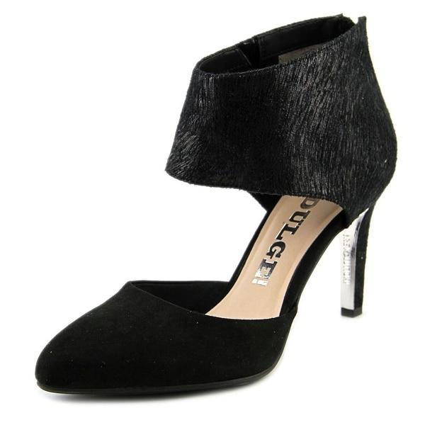 LS Revolution Catch Up Women Pointed Toe Suede Black Slingback Heel
