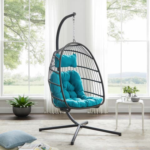 Havenside Home Outdoor Swing Egg Chair with Stand