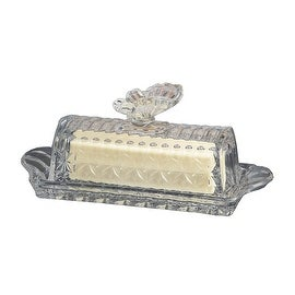 Palais Glassware® Papillon Collection; High Quality Glass Covered Butter Dish (Clear)
