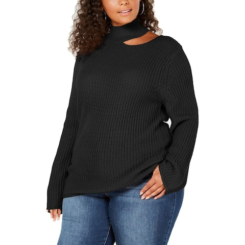 Planet Gold Womens Plus Pullover Sweater Cut-Out Long Sleeve