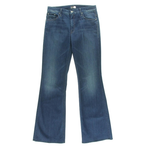 MOTHER JEANS Womens The Mellow Drama Flare Jeans Stardust Wash Mid-Rise