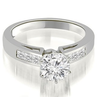 0.80 CT.TW Channel Set Princess Cut Diamond Engagement Ring in 14KT Gold - White H-I