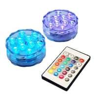 Set of 2 Submersible Color Changing B/O LED Lights with Remote Control