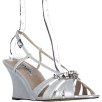 Nina Viani Jeweled Wedge Strappy Dress Sandals, Silver