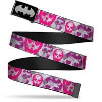 Batman Reverse Brushed Silver Cam Bat Signal Skulls Plaid Grays Web Belt