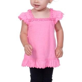 Kavio!Infants Sheer Jersey Ruffle U Neck Flutter Sleeve Top