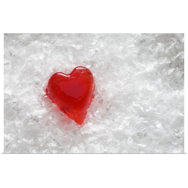 """""""Frozen red ice-cube heart in ice flakes"""" Poster Print"""