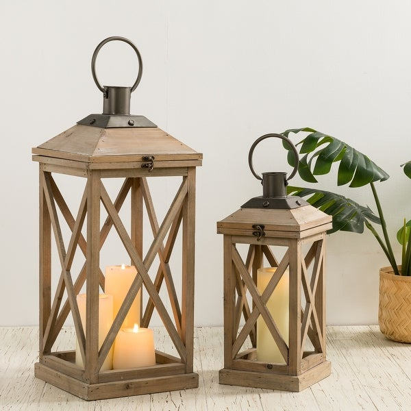 "Glitzhome Set of 2 Modern Farmhouse Wooden Lantern - 24""+17"". Opens flyout."