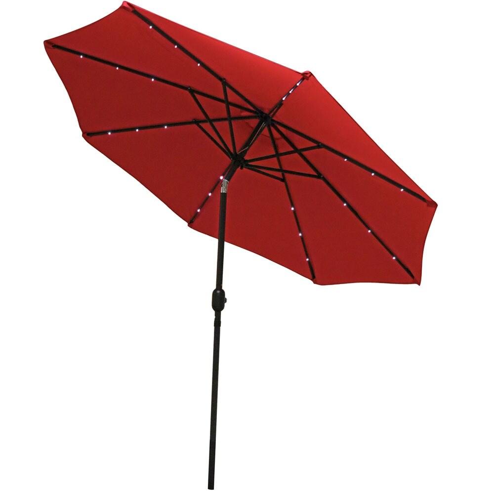 Sunnydaze Aluminum 9 Foot Solar Patio Umbrella With Tilt U0026 Crank