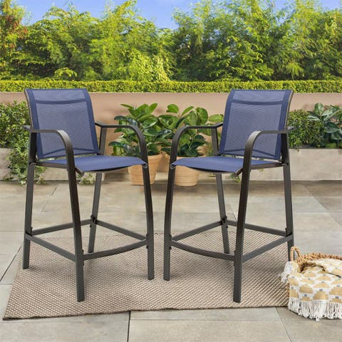 """All-Weather Aluminum Outdoor Counter Height Bar Stools (Set of 2) - 21.7""""W x 25.6""""D x 43.7""""H"""