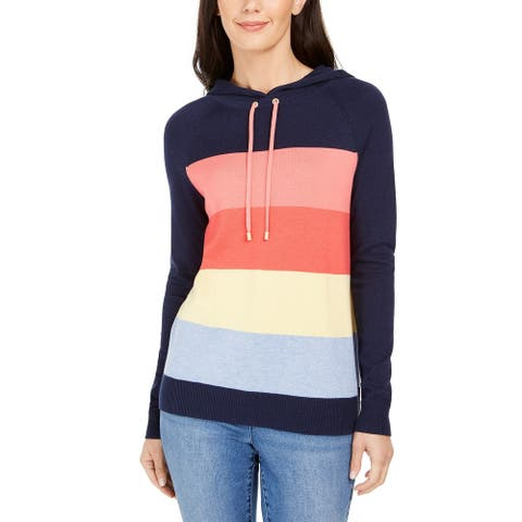 Charter Club Women's Striped Hooded Sweater Intrpd Blue Cmb Size Small