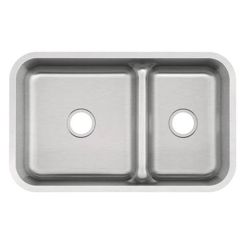 """Mirabelle MIRURB3421 34"""" Double Basin Stainless Steel Kitchen Sink with 70/30 Split - Undermount Installation -"""