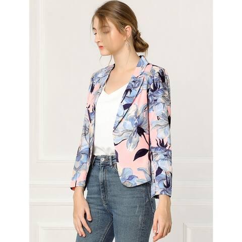 Unique Bargains Women Contrast Lining Open Front Floral Print Blazer