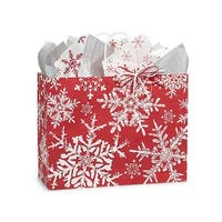 """Pack Of 250, Vogue 16 X 6 X 12.5"""" Christmas Snowflakes Red Paper Shopping Bag Made In Usa"""