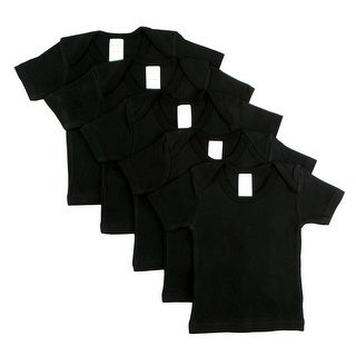 Black Short Sleeve Lap Shirt (Pack of 5) (Black, 18-24)