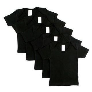 Black Short Sleeve Lap Shirt (Pack of 5) (Black, 3-6)