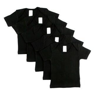 Black Short Sleeve Lap Shirt (Pack of 5) (Black, 6-12)