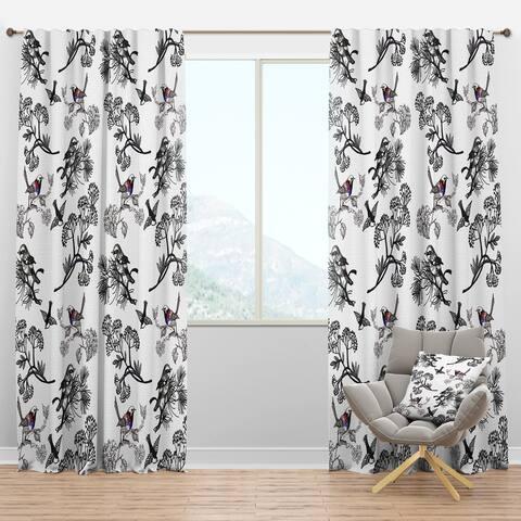 Designart 'Floral pattern with birds' Floral Blackout Curtain Panel