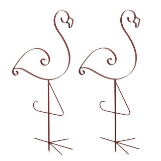 Set of 2 Pink Enamel Finished Metal Flamingo Garden Stakes