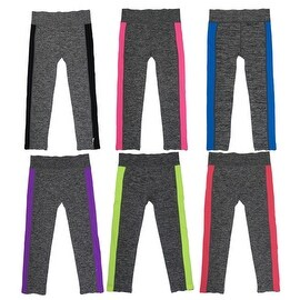 Women 6 Pack Space Dye Neon Stipes Athletic Sports Full-Length Leggings
