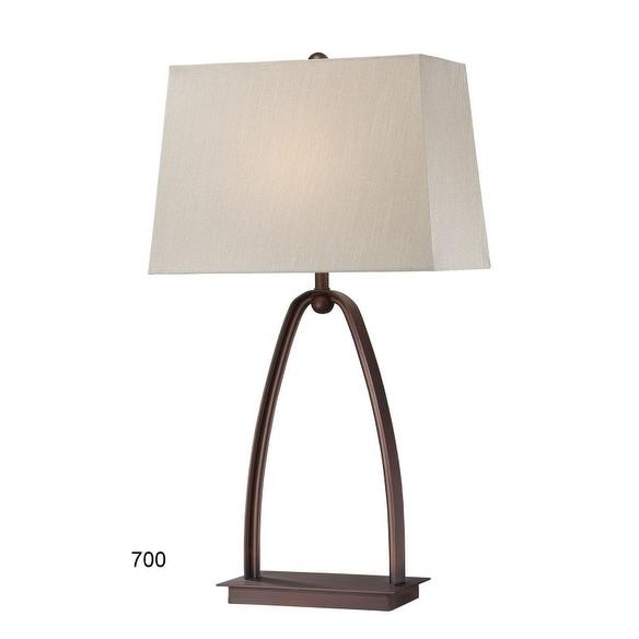 """29"""" Geometric Brown Metal Table Lamp"""
