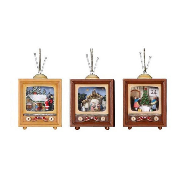 """Club Pack of 12 Icy Crystal Decorative Christmas Scene TV Ornaments 4"""" - brown"""