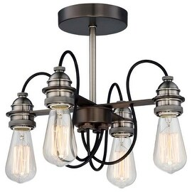 Minka Lavery 4454-784 4 Light Semi-Flush Ceiling Fixture from the Uptown Edison Collection - harvard court bronze / pewter