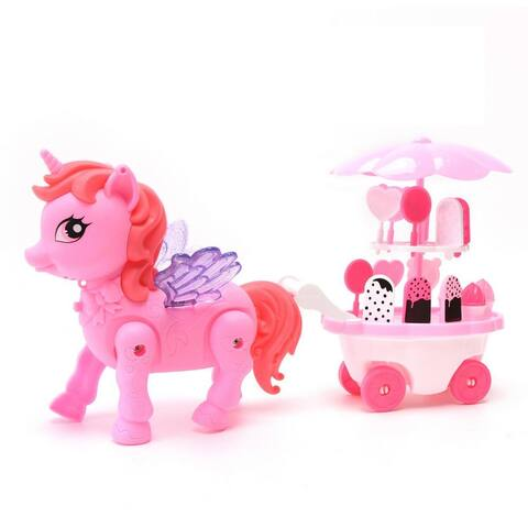 Buy Wonder Products Walking Pony Ice Cream Car With Lights & Music - Pink