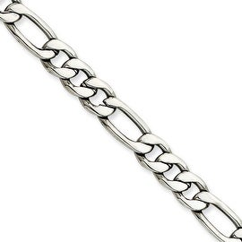 Chisel Stainless Steel 7.30mm 24 Inch Figaro Chain (7.3 mm) - 24 in