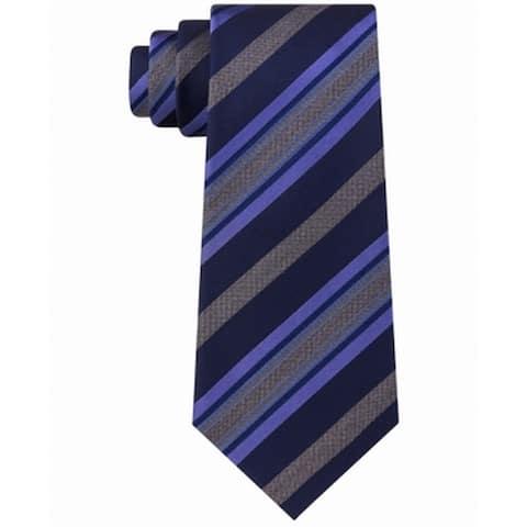 Kenneth Cole Reaction Men's Navy Blue Purple Rail STripe Neck Tie Silk